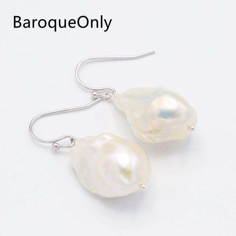 BaroqueOnly 15-25mm Super Big AAAA White Baroque Pearl Drop Earrings 925 Silver Sterling Elegant Jewelry Unique Gifts baroqueonly s925 sterling silver 100% natural white baroque big 15 25mm pearl bracelet fashion jewelry for women hl