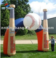 Free shipping 6.5M high, 8M width advertising baseball bat inflatable arch/ inflatable product for sport event