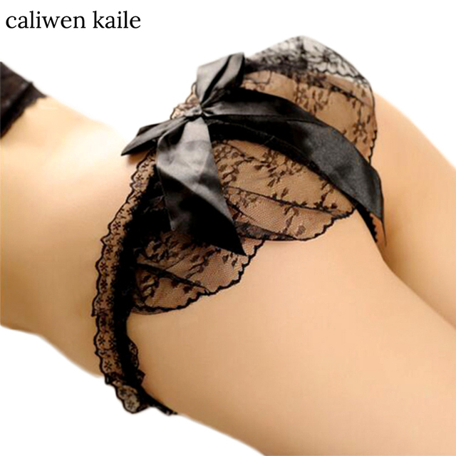 1 PC New Women Sexy Panties Knickers Bikini Lingerie Hollow Flower Big Bow-knot Lace Thongs V-string Panty Underwear