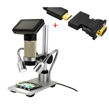 """Buy online 1080P HDMI Microscope Portable 3"""" LCD USB VGA Digital Microscope Soldering Tool 10-300x Long Object Distance Microscope Stand"""