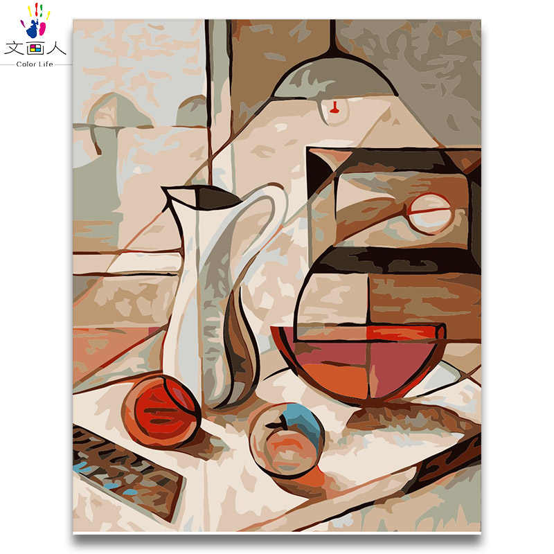 Abstract oil painting Dining table picture paintings by numbers Still life Draw on canvas numbers painting in colors by numbers