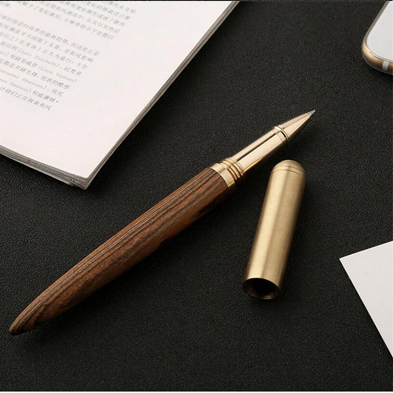 все цены на High Quality 0.5mm Black ink pen Luxury wood Ballpoint pen brass ball pen Office supplies with pen bag Stationery gift 03665 онлайн