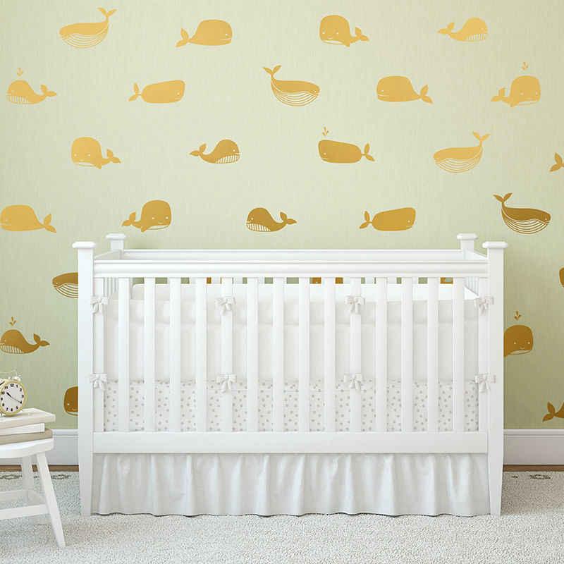 קריקטורה לווייתן ויניל קיר מדבקת מקסים משתלת דקור, חמוד ויניל לווייתן קיר מדבקות לילדים חדר ימי קישוט