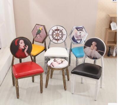 Iron Chair. Hotel Bar. Leisure Makeup Nail Chair..