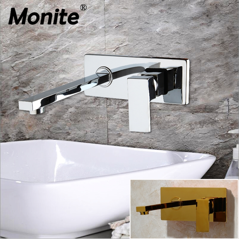 Monite Wall Mounted Waterfall Bathroom Faucet Chrome Brass Spout Vanity Sink Mixer Tap Faucet Black Golden