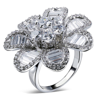 Flower crystal Ring setting cubic zircon stone vintage rings for women Rings for girl new style Free shipping