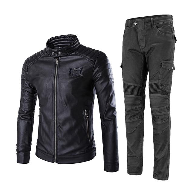 2019 New Motorcycle Jacket + Motorcycle Pants Moto Jeans Protective Gear Riding Motorbike Motocross Riding Pantalon Moto Pants #