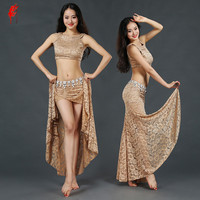 New Belly Dance Clothes Sexy Lace Sleeveless Top Long Skirt 2pcs Belly Dance Set For Women
