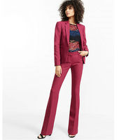 Burgundy Ladies Trouser 2 Piece Suit Women's Workwear Suits Formal Business Suits Custom Made Bespoke 2018 New A04
