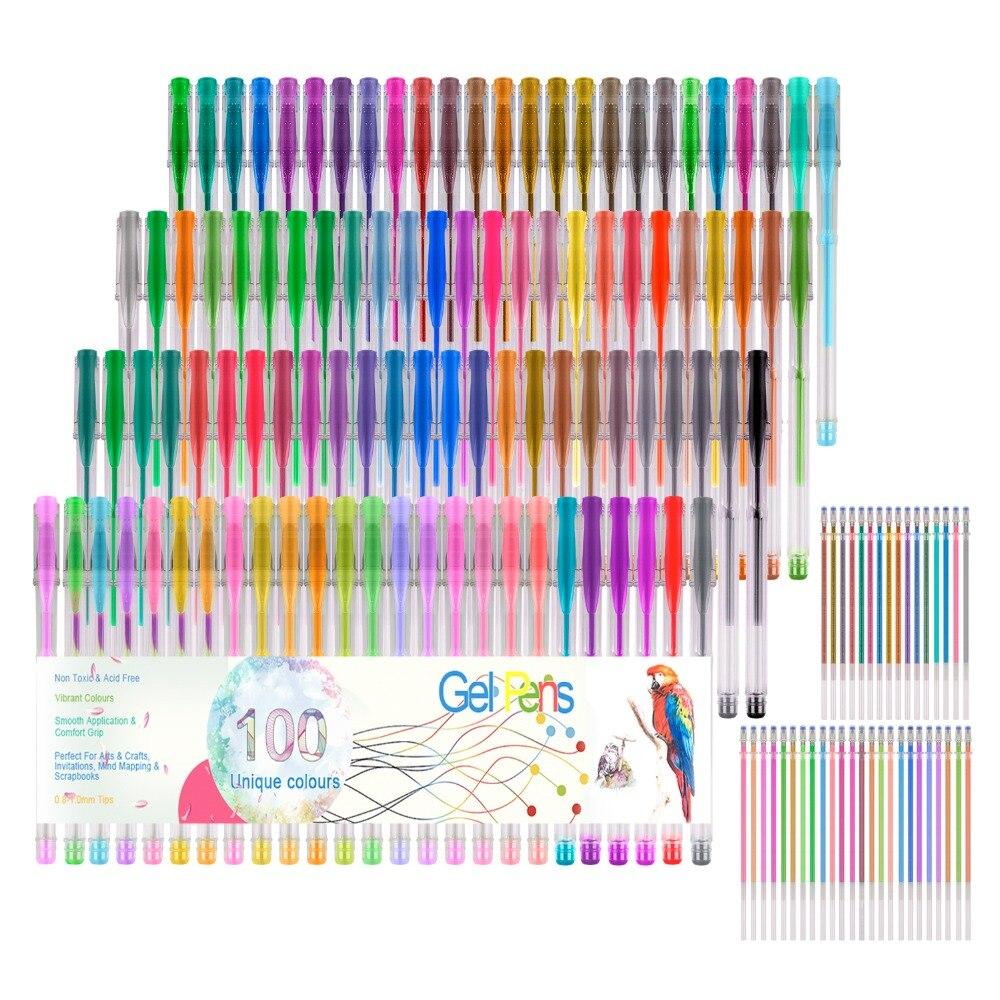 Ensemble de stylos à Gel couleur 100 néon pour croquis métallique/paillettes dessin fournitures d'art pour adultes livres à colorier + recharges 100