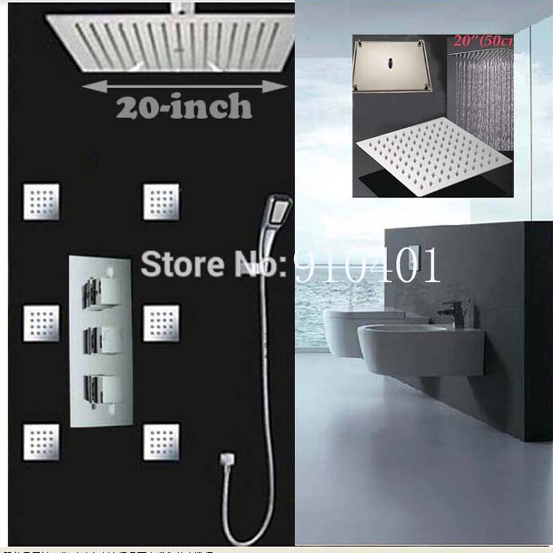 Wholesale And Retail Huge 20 Rain Shower Head Thermostatic Valve Mixer W Massage Jets Hand Shower