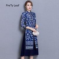 2018 neue retro blau und weiß porzellan cheongsam zweiteilige kleid