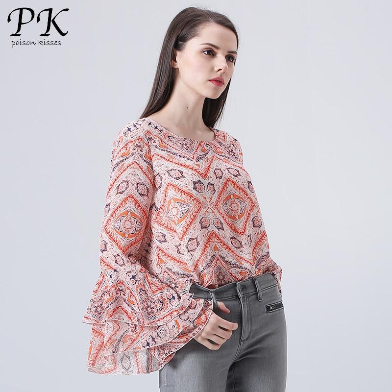 PK 2018 chiffon blouse sexy blouse shirt vrouwelijke vrouwen tops - Dameskleding - Foto 3