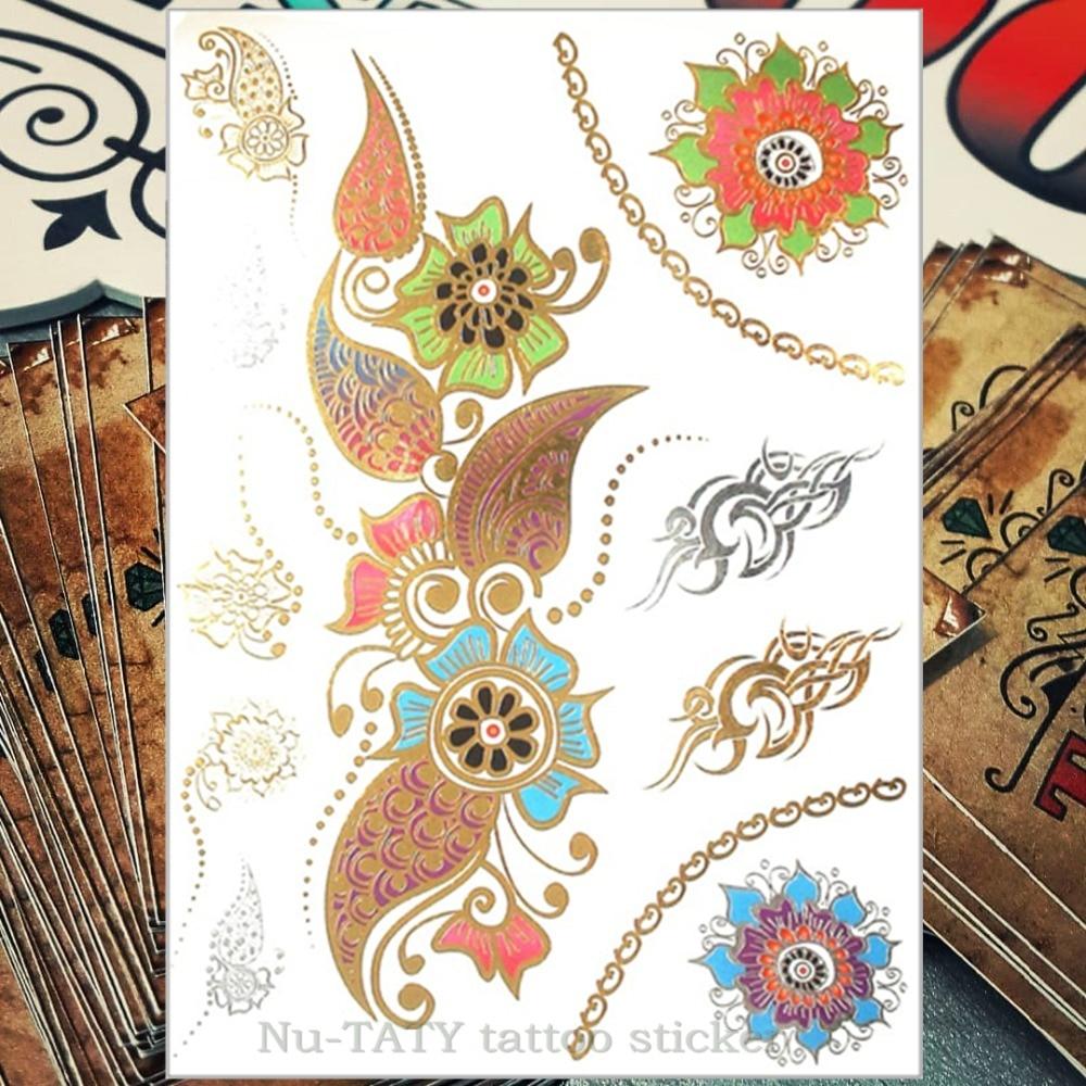 Nu-TATY 24 styl dočasné tetování Body Art, Velké zlaté květy vzory, Flash Tattoo Sticker Waterproof 21 * 15cm
