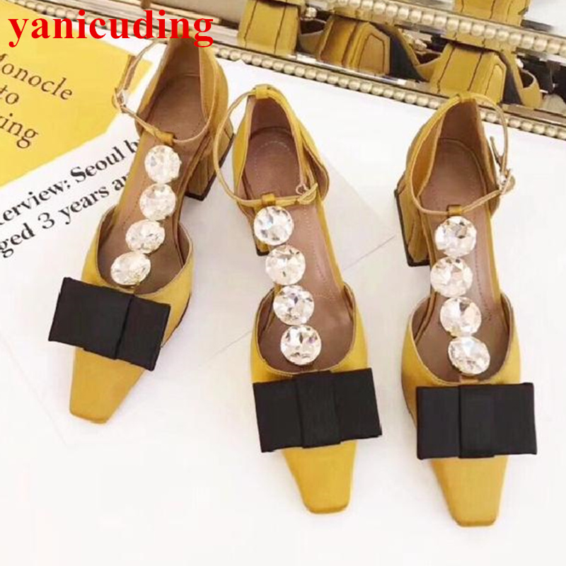 Shoes Women Big Crystal Embellished Buckle Decor Pumps Bow Tie Med Heel Square Toe Satin Brand Lady Party Wedding Dress Mujer