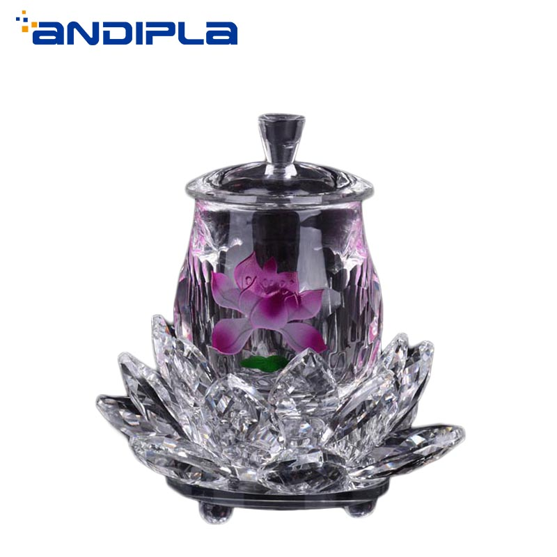 Crystal Lotus Holy Water Bottles Buddhist Supplies Holy Water Container Lotus Cups Lucky Feng Shui Home Decoration Accessories
