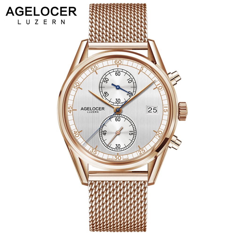 Mens Watches Swiss Top Brand AGELOCER Clock Luxury Gold Watch Man 2017 Chronograph Sport Watches For Men Relogio Masculino switzerland agelocer top brand automatic watches men luxury 18k gold 316l steel mesh watch with date clock man relogio masculino