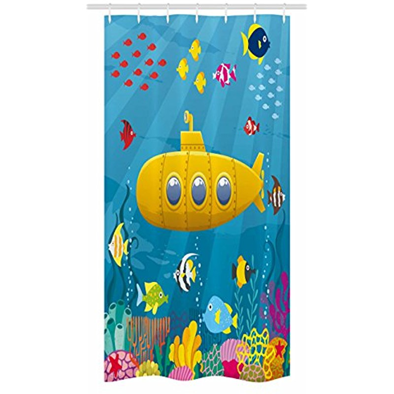 Vixm Submarine Stall Shower Curtain Coral Reef With