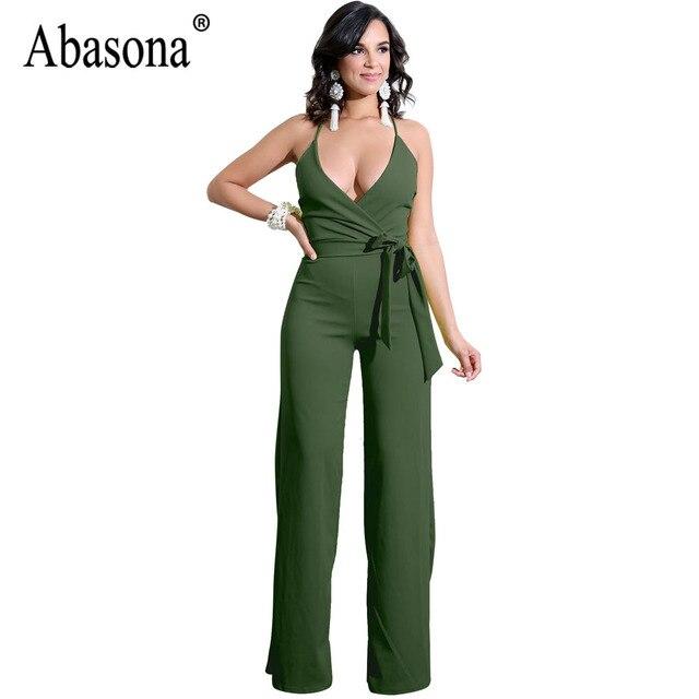 14dc2c3b00144 Aliexpress.com : Buy Abasona Summer Women Sexy Deep V Neck Backless  Jumpsuits Sleeveless Long Pants Elegant Ladies Rompers Woman Club Solid  Jumpsuit ...