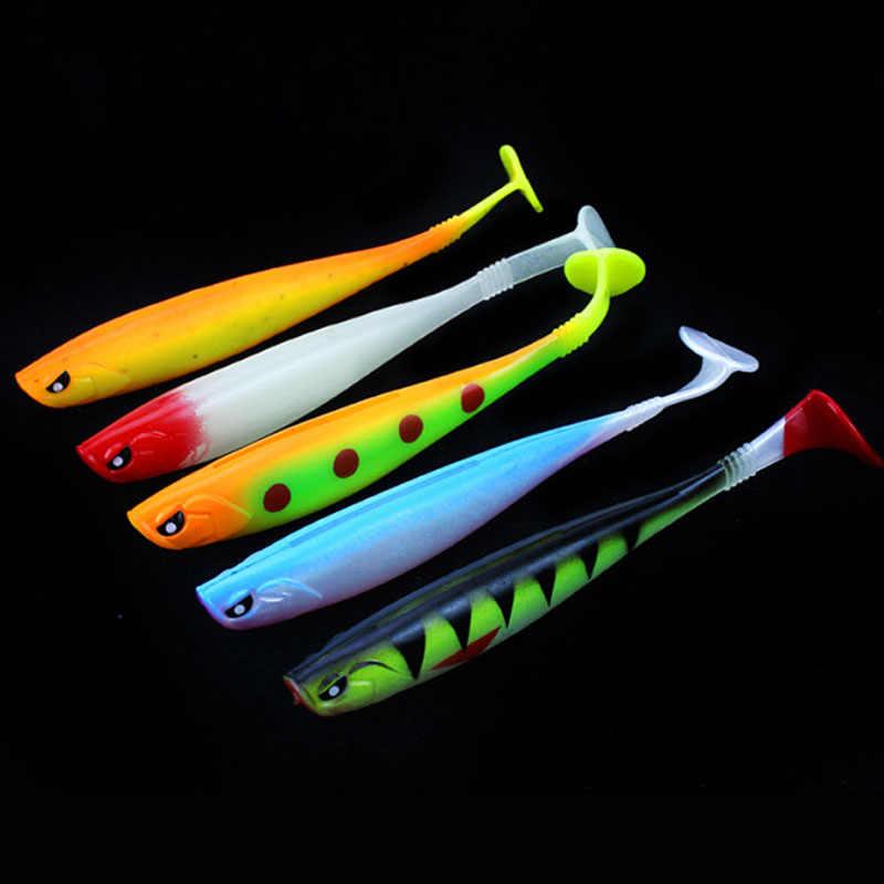 5PC Lotto 12 centimetri 10g Morbido di Pesca Wobbler Esca di Richiamo Kit Spinning Al Casting Esche Jig Swimbait Artificiale Luminoso silicone Attrezzatura