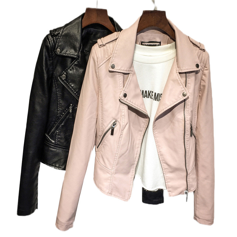 Women   leather   jacket 2018 spring autumn new slim lapel   leather   ladies short jacket PU   leather   jacket motorcycle clothing DT0150