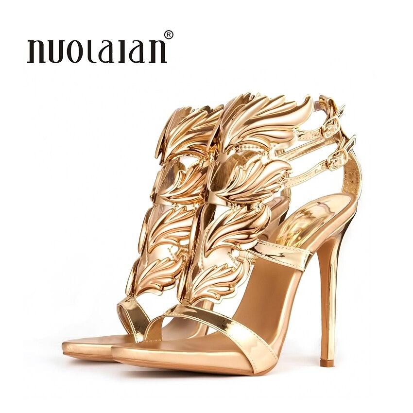 Venda quente mulheres sandálias de salto alto folha de ouro chama sandália gladiador sapatos de festa mulher vestido sapato couro de patente saltos altos