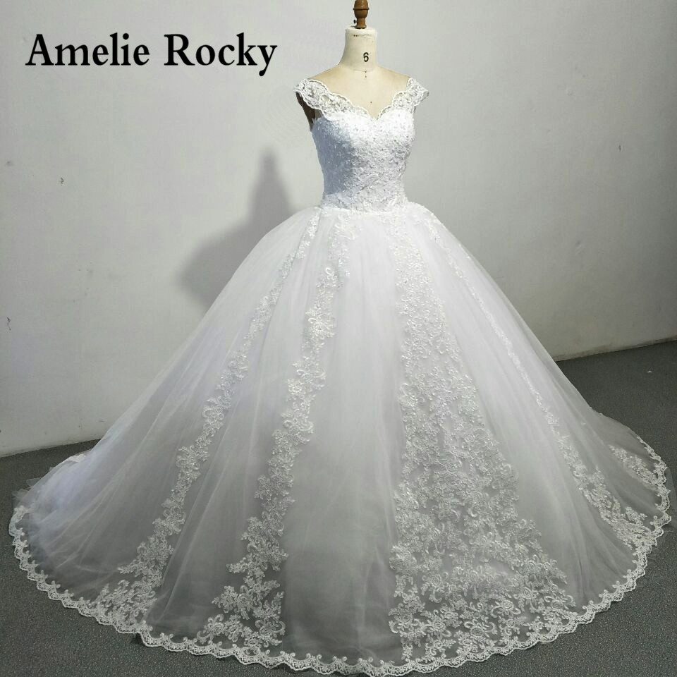 Big Wedding Ball Gowns: Luxury Ball Gown Wedding Dresses With Cap Sleeves Lace Up
