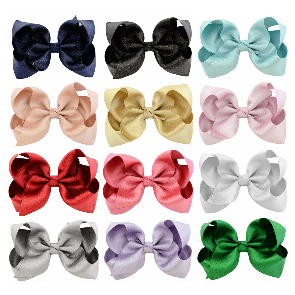 4 Inch 12pcs/lot Solid New Design Ribbon Hair Clips Boutique Bows For Kids   Headwear   Boutique Hair Accessories 757