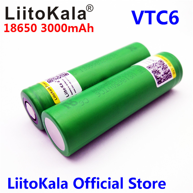 Liitokala VTC6 3.7V 3000mAh rechargeable Li-ion battery 18650 for Sony US18650VTC6 30A Electronic cigarette toys tools flashligh