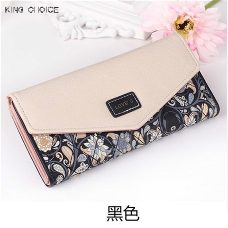 2017 New Fashion Envelope Women Wallet Hit Color 3Fold Flowers Printing 5Colors PU Leather Wallet Long Ladies Clutch Coin Purse 2018 new fashion business envelope women male black red wallet hit color 3 fold pu leather wallet long ladies clutch coin purse