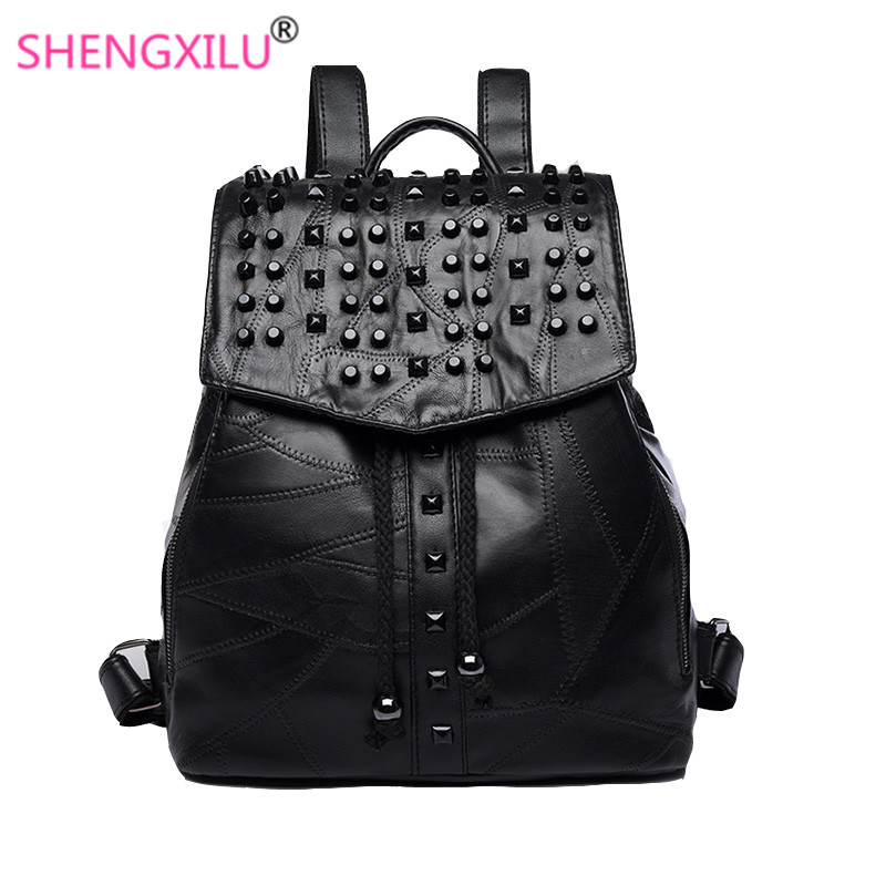 Shengxilu Genuine Leather Backpacks For Women New Knapsack Korean Rucksack Large Capacity Bags Black Rivet Female Daypacks