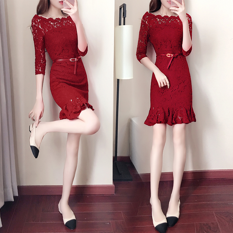 2018 spring lace dress party festival prom vestidos hollow mermaid dress red black