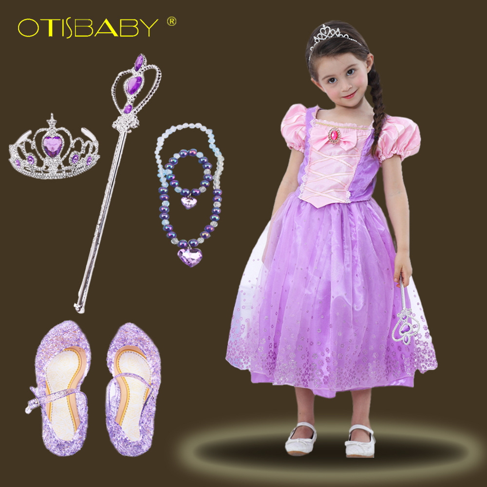 2018 Girls Rapunzel Dresses Sophia Princess Wear Perform Clothes Deluxe Tangled Dress up for Birthday Party Tutu Dresses Fantasy tetris party deluxe