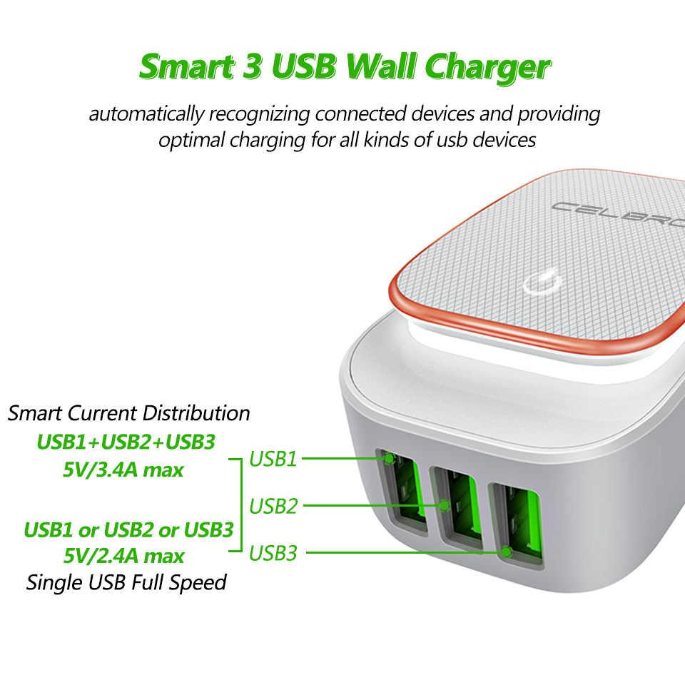 3 Порты и разъёмы usb-зарядное устройство концентратор для мобильного телефона samsung Xiaomi LG 5 V 3.4A тройной стены USB Зарядное устройство адаптер + лампа Европа США Великобритания Австралия штекер