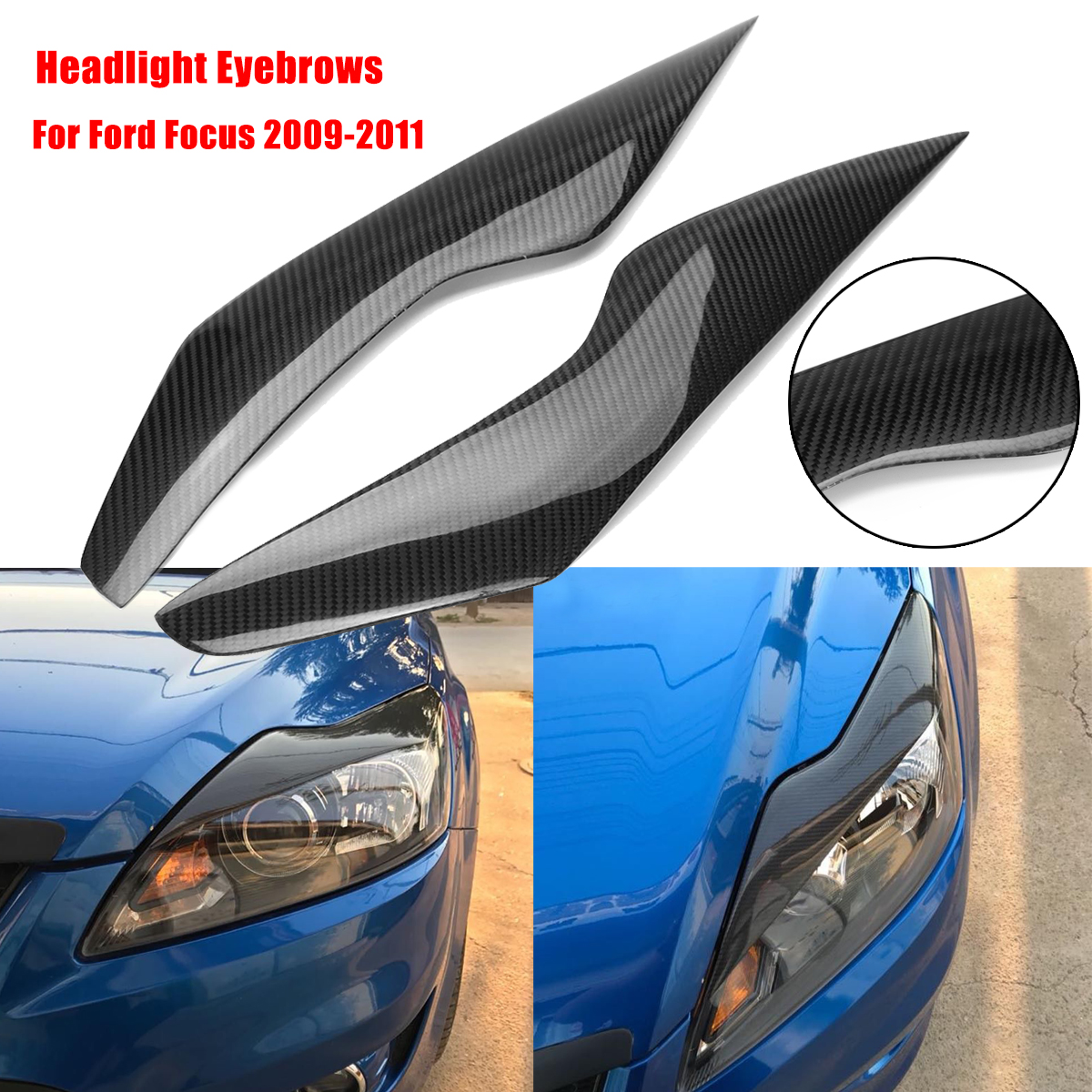 2pcs Carbon Fiber Headlight Eyebrows Eyelids Headlamp Shell Cover For Ford/Focus 2009-2011