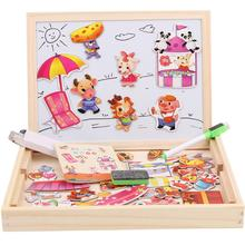 Kids Wooden Cartoon Animal Shape Puzzle Double-sided Magnetic Drawing Board Toy
