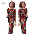 2017 African Suit For Women Skirt and Crop Top Dashiki Traditional African Clothing Two Piece Set for Women with headwarp WY1078