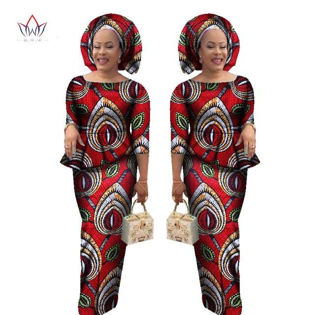 2017 Traje Para Mujer de Falda y Blusa Entallada Dashiki Africano Ropa de Dos Piezas para Las Mujeres Africanas tradicionales con headwarp WY1078