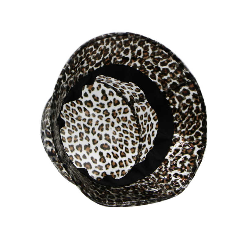 ab3f718be3091 ... Summer Transparent Women's PVC Leopard Small Brim Bucket Hat Ladies  Beach Visor Hat Waterproof Rain Cap