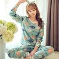 Venda quente 2016 Outono & Inverno Pijamas Das Mulheres de Algodão Conjuntos de Pijama Menina Dos Desenhos Animados Pijamas Pijamas para mulheres Long-Sleeved treino