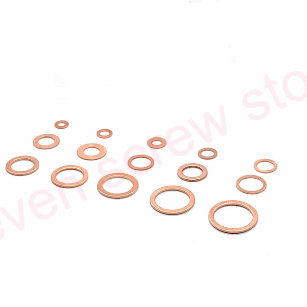 150 PCS נחושת מכונת כביסה אטם אגוז בורג סט שטוח טבעת חותם מבחר ערכת M5 M6 M8 M10 M12 M14 m16 M18 עבור עוקה תקעים מים