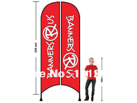 Advertising Flag 340X85cm Two sides printing Feather Flag with Cross base Beach Flag