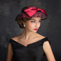 Ladies Sinamay Church Hat For Women Royal Wedding Dress Hat Kentucky Fascinator Kentucky Derby Bow Large Brim Fedoras M98
