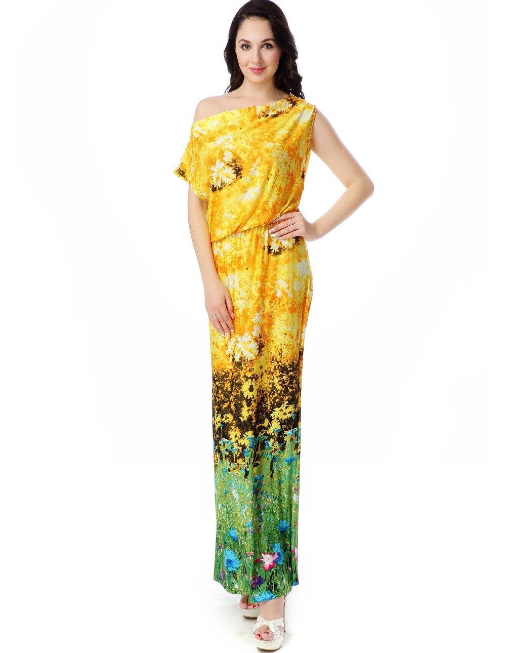 Women Summer Beach Dress Plus Size 6XL Printed Bohemian Dress Slash Neck Long Maxi Dress
