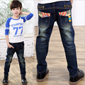 2017 Spring Children Jeans Boys Letter Jeans Pants Light Wash Boys Jeans for Boys Regular Elastic Waist Children's Jeans P241
