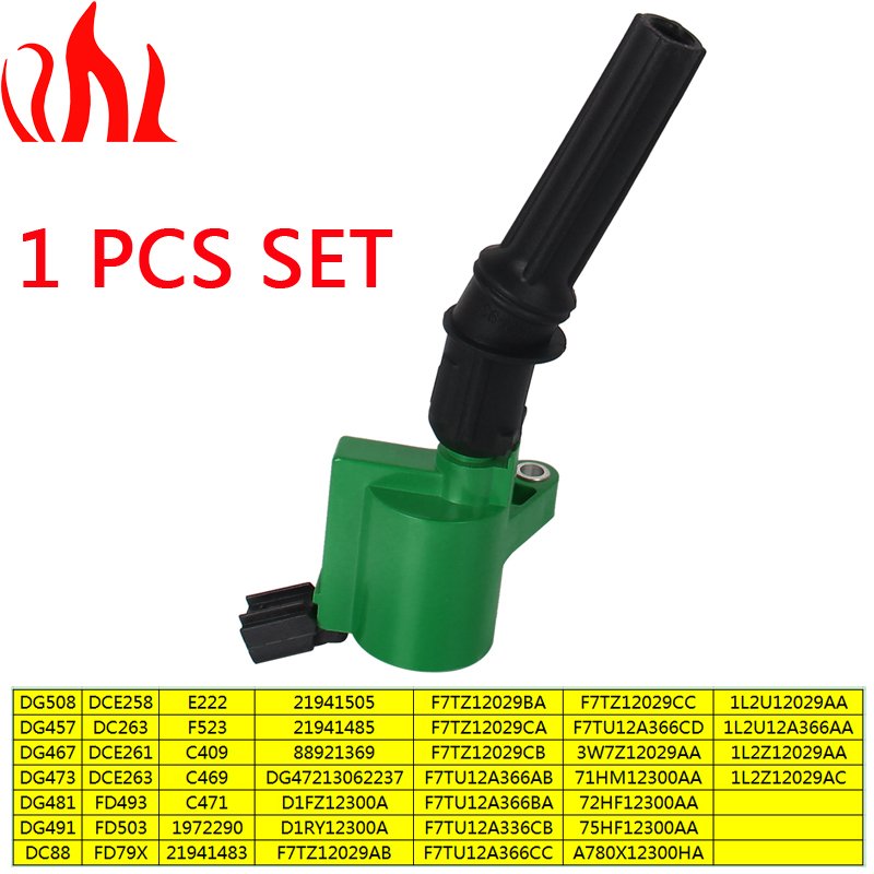 PRECISION AUTO LABS DG508 Ignition Coil 1 pcs Green for Ford Lincoln Mercury C1454-17 FD503 DG457 DG47213062237 1972290 1L2U1202