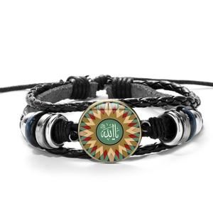 Image 3 - シャンアラビアイスラム教徒神アッラーの魅力のブレスレット多層黒パンク革ブレスレット男性女性イスラムコーランアラブ古典的なジュエリー