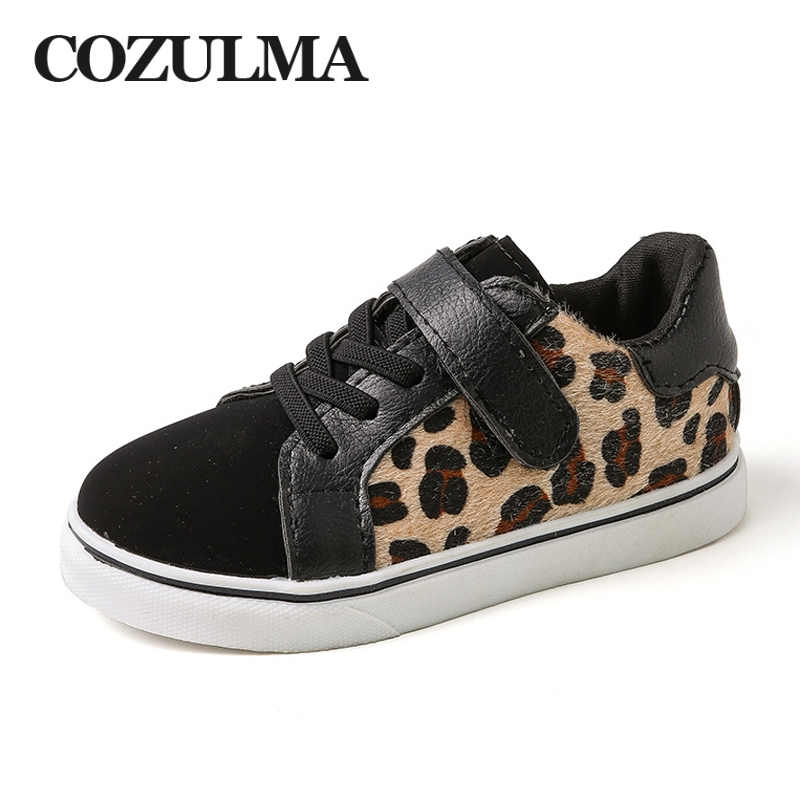 COZULMA Children Fashion Leopard Print Sneakers Spring New Boys Girls Casual Shoes Breathable Kids Flat Sports Shoes