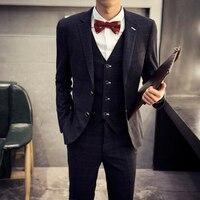 Retro Plaid Suit For Men Fashion Slim Fit Mens Wedding Suits Designs Clothing Costume Homme Male