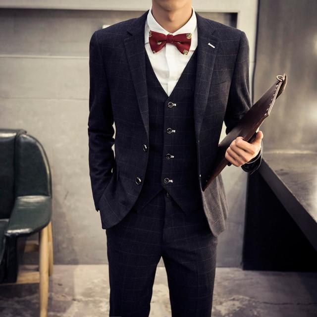 Retro Plaid Suit For Men Fashion Slim Fit Mens Wedding Suits Designs Clothing costume homme Male Blazer Jackets Tuxedo 3 Sets